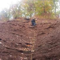 The climb down